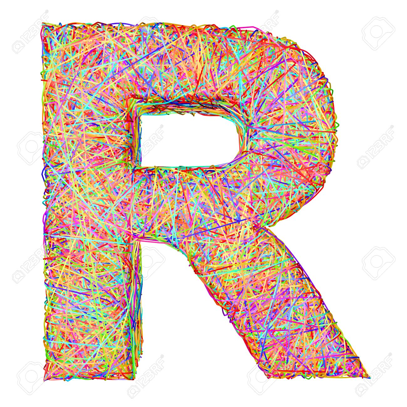 Alphabet symbol letter R composed of colorful striplines isolated on white. High resolution 3D image